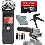 Zoom H1 Portable Digital Audio Recorder Deluxe Bundle with Shotgun Microphone + XPIX Tripod + 16 GB + Batteries + Fibertique Cloth