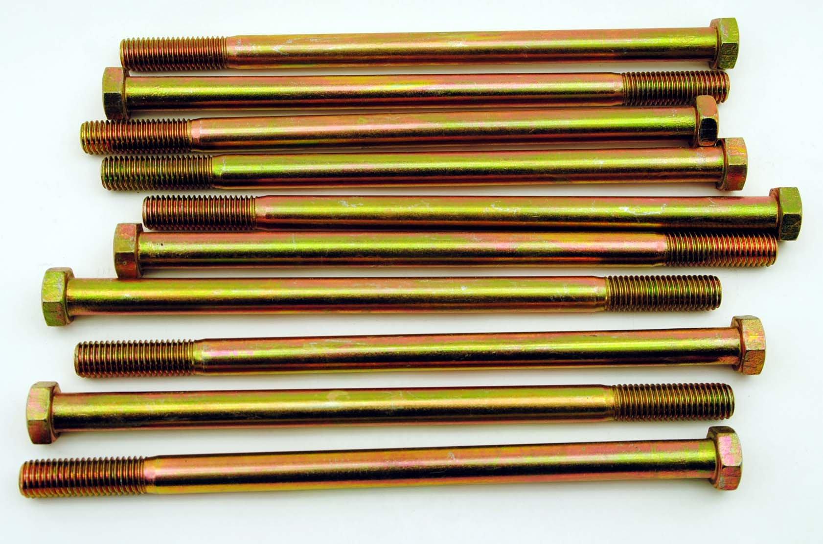(5) Hex Head 5/8-11 x 11'' Grade 8 Bolts Yellow Zinc Cap Screws