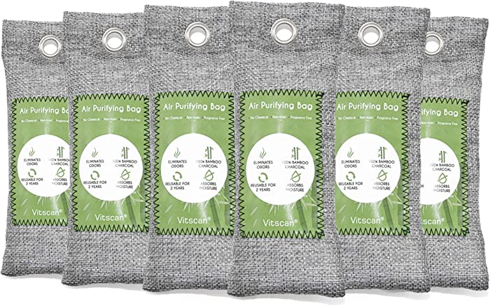 6 Pack Bamboo Charcoal Air Purifying Bag, Activated Charcoal Bags Odor Absorber, Moisture Absorber, Natural Car Air Freshener, Shoe Deodorizer, Odor Eliminators For Home, Pet, Closet (6x50g)