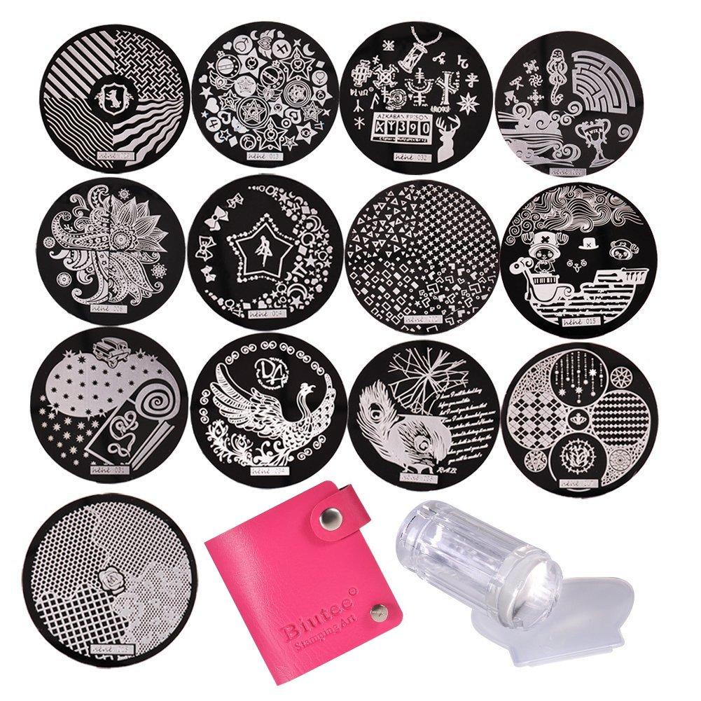 Biutee 13pcs Modèle Image Nail Plates Stamper Grattoir Sets Nail Art Stamping Outil Vernis à Ongles Tampon Set Plaques d'acier (Couleur Aléatoire)