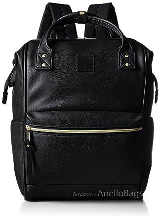 431bc47806 Japan Anello Backpack Unisex BLACK LARGE PU LEATHER Rucksack School Bag  Campus