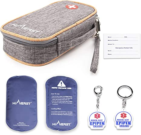 GOLD or SILVER Insulated Lining Diabetes Supply Bag Injector Pouch EpiPen Pouch Insulin Pen Case 8 x 2 Auto Injector Case
