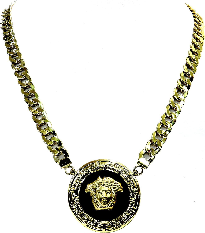 MegaJoyas Gargantilla de Oro de Ley 18 Klts. Cadena Cubana Barbada con Colgante Medusa y Greca.