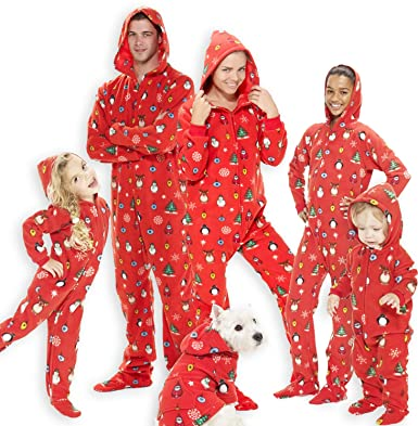 fa58bde92f Amazon.com  Footed Pajamas - Family Matching Red Christmas Hoodie Onesies  for Boys