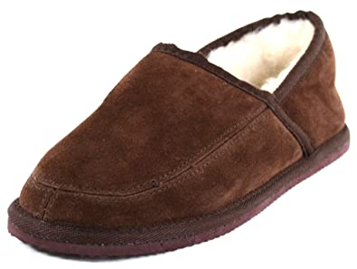 041764001c4 Snugrugs Men s Suede Full Slipper with Wool Lining and Lightweight Sole -  Brown US 6
