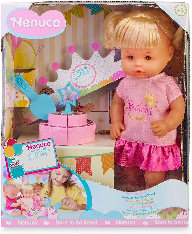 Nenuco-Feliz Cumpleaños ! Muñeca con Tarta de cumpleaños, Regalo Ideal para niñas y niños a Partir de 3 años(Famosa 700016283)
