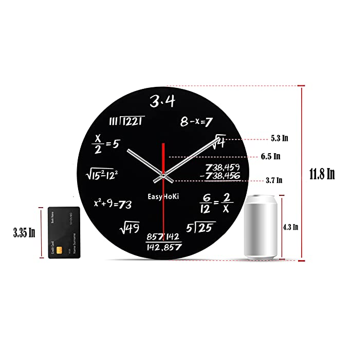 Amazon easyhoki updated version math wall clock silent can amazon easyhoki updated version math wall clock silent can you calculate the mathematical formula home kitchen ccuart Image collections