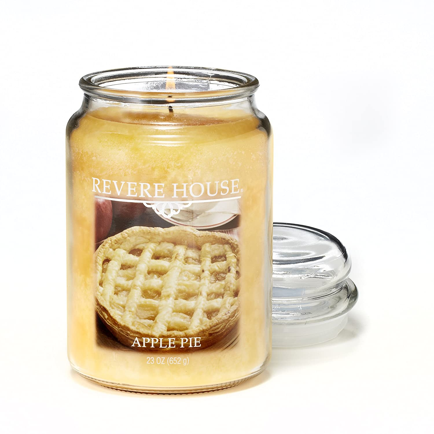 CANDLE-LITE Revere House Scented Apple Pie Single Wick 23oz Large Glass Jar Candle, Food Spice Gourmand Fragrance, 23 oz, Gold