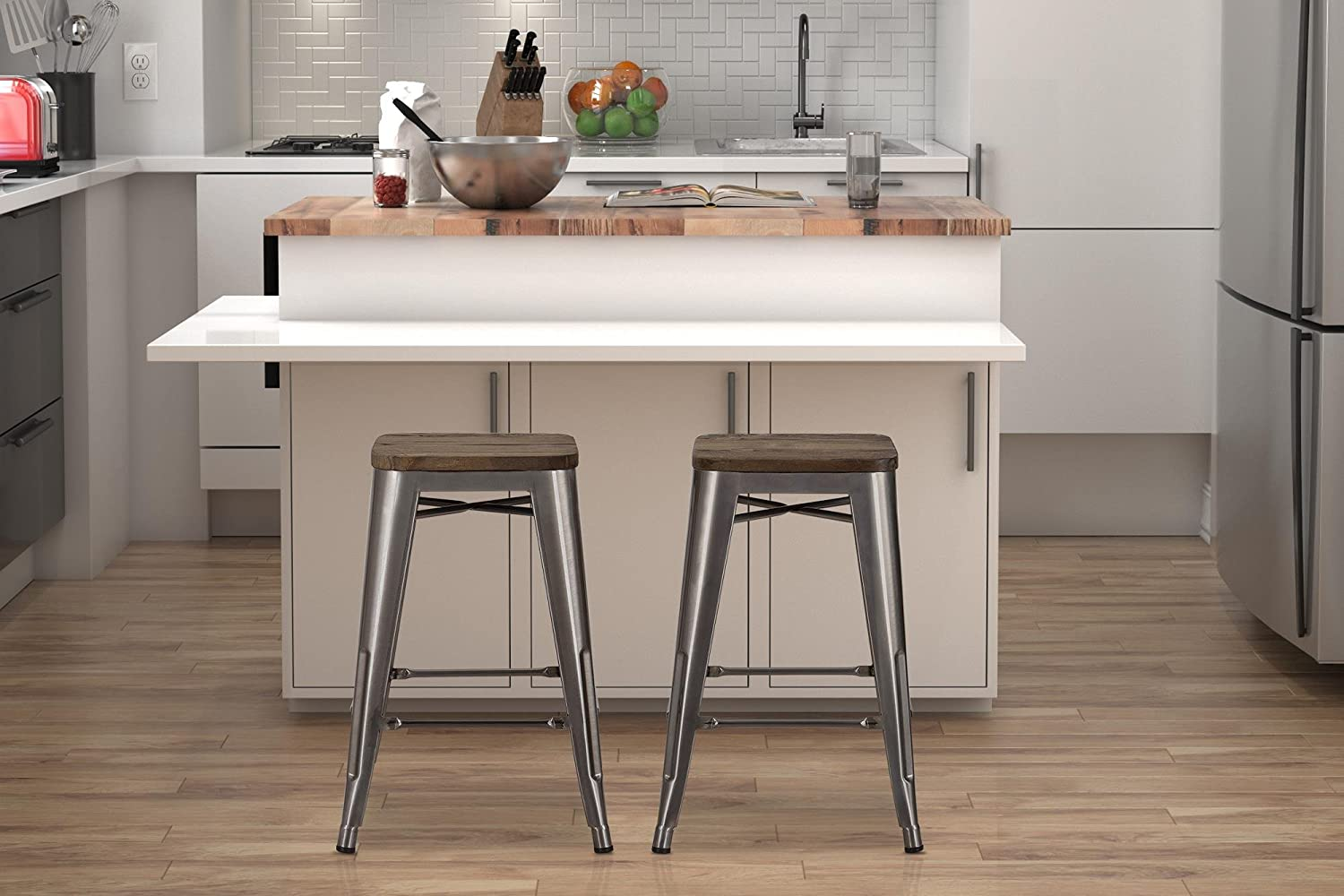 Amazon.com DHP Fusion Metal Backless Counter Stool with Wood Seat Set of two 24  Gun Metal Kitchen u0026 Dining : backless wood counter stools - islam-shia.org