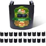 Gardzen 20-Pack 10 Gallon Grow Bags, Aeration Fabric Pots with Handles, Pot for Plants