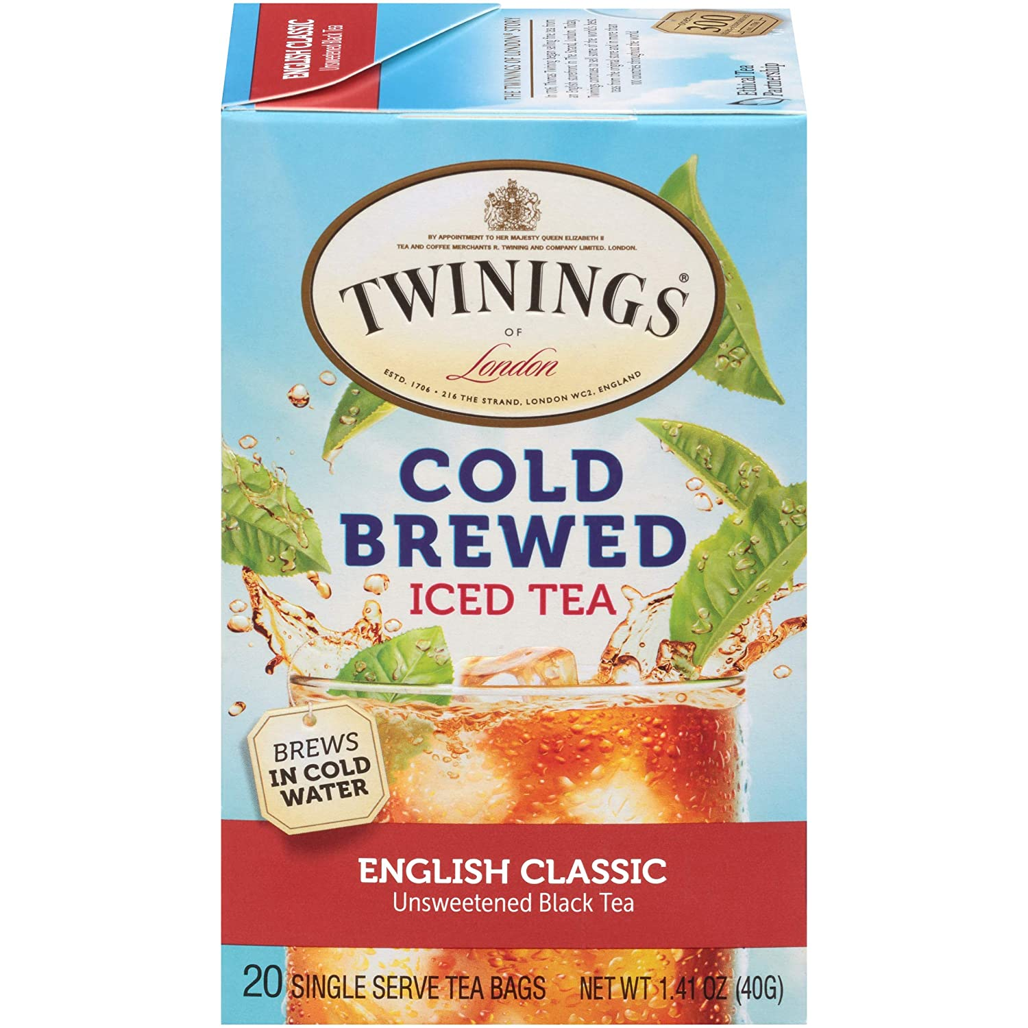 Twinings of London English Classic Cold Brewed Iced Tea Bags, 20 Count (Pack of 6)