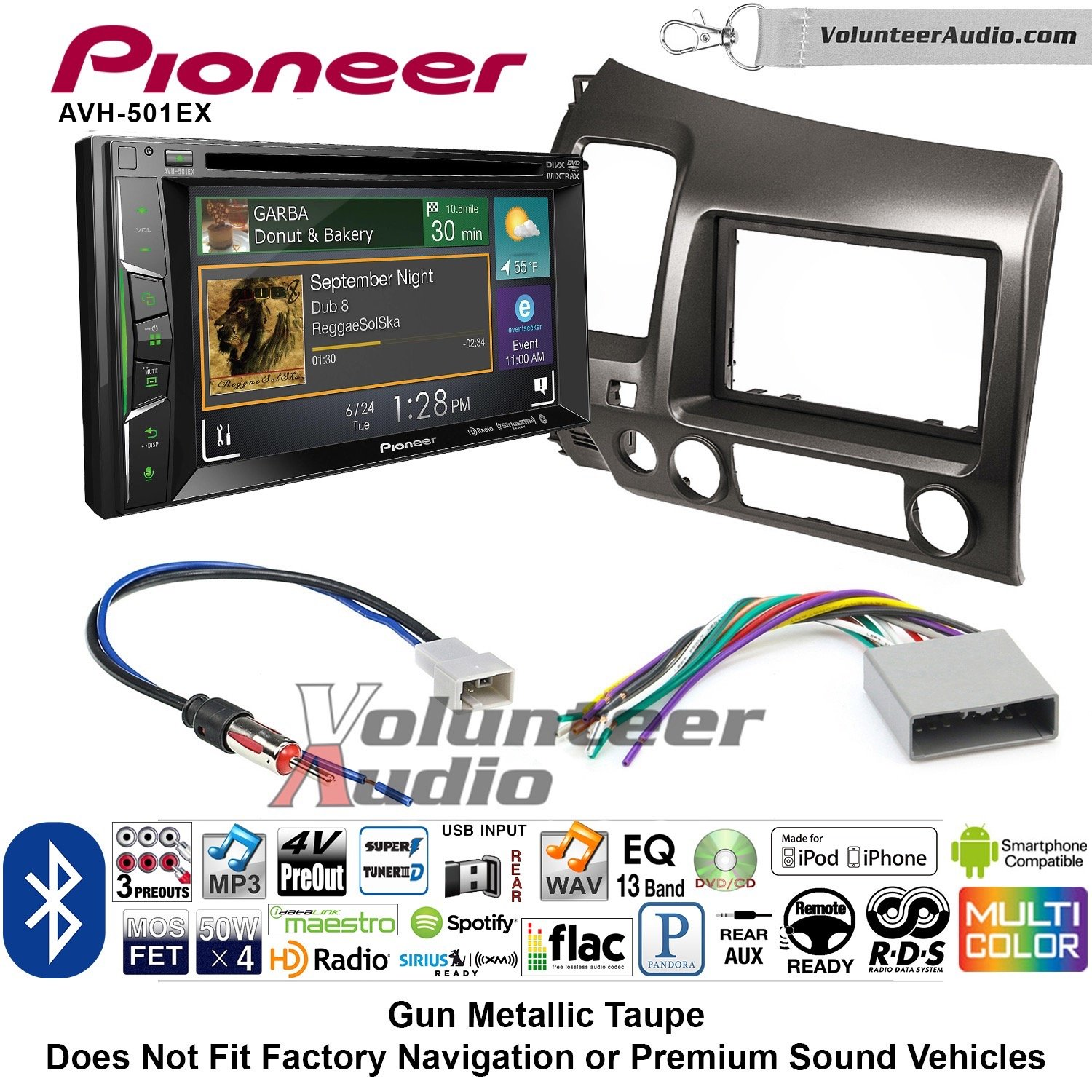Volunteer Audio Pioneer AVH-501EX Double Din Radio Install Kit with DVD/CD Player Bluetooth Fits 2006-2011 Honda Civic (Earth Taupe Brown)