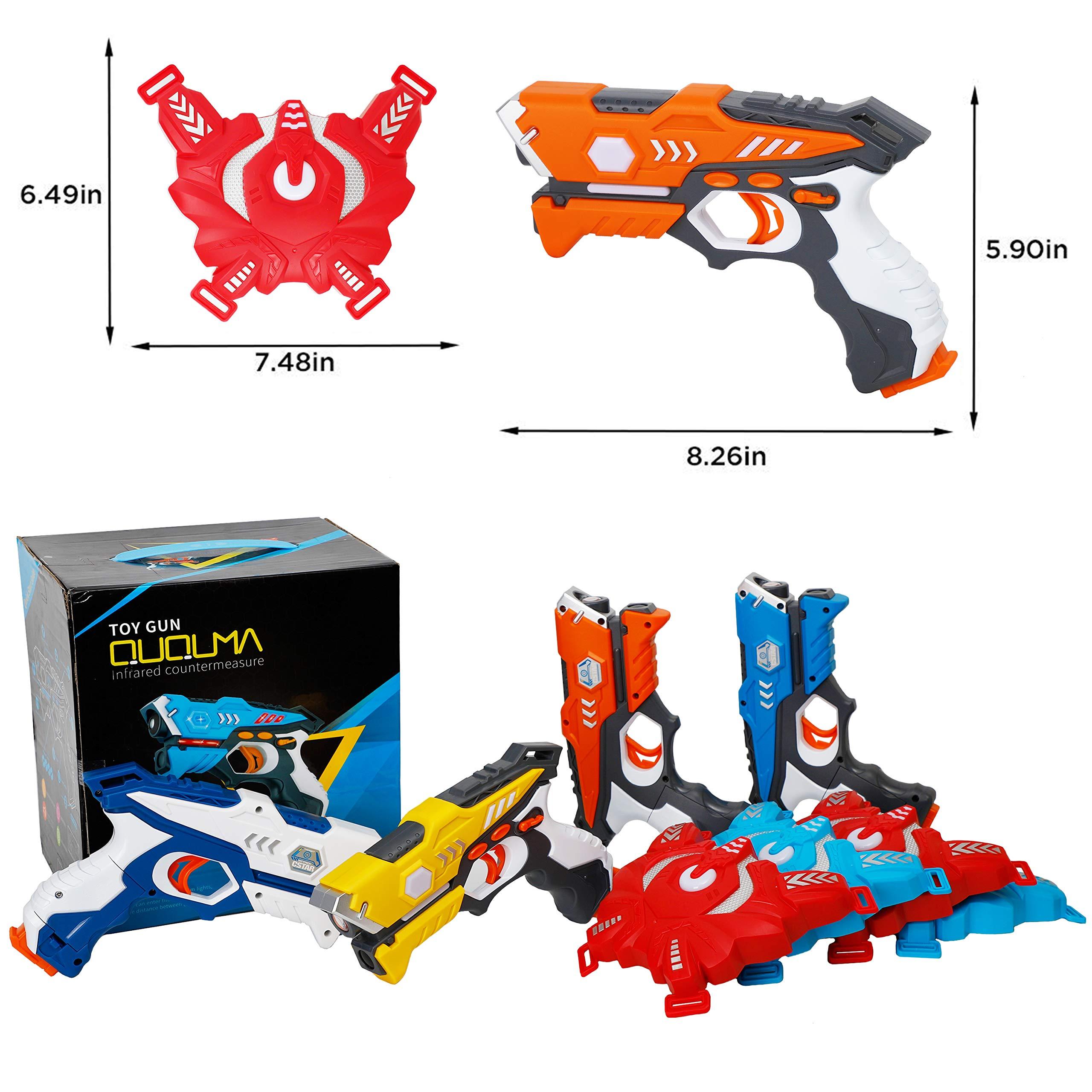 QUQUMA Infrared Laser Tag Set 4 Guns 4 Vests - Indoor Outdoor Laser Gun Kit Toy for Girl & Boy Laser Tag Game Set Best Gift Boys Girls(Laser Guns) by QUQUMA (Image #8)