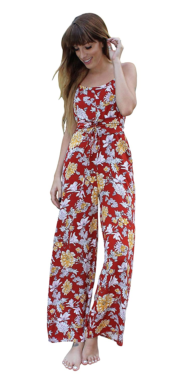 aliexpress modern style amazing price Amazon.com: Sleeveless Red Floral Jumpsuit Womens Summer ...
