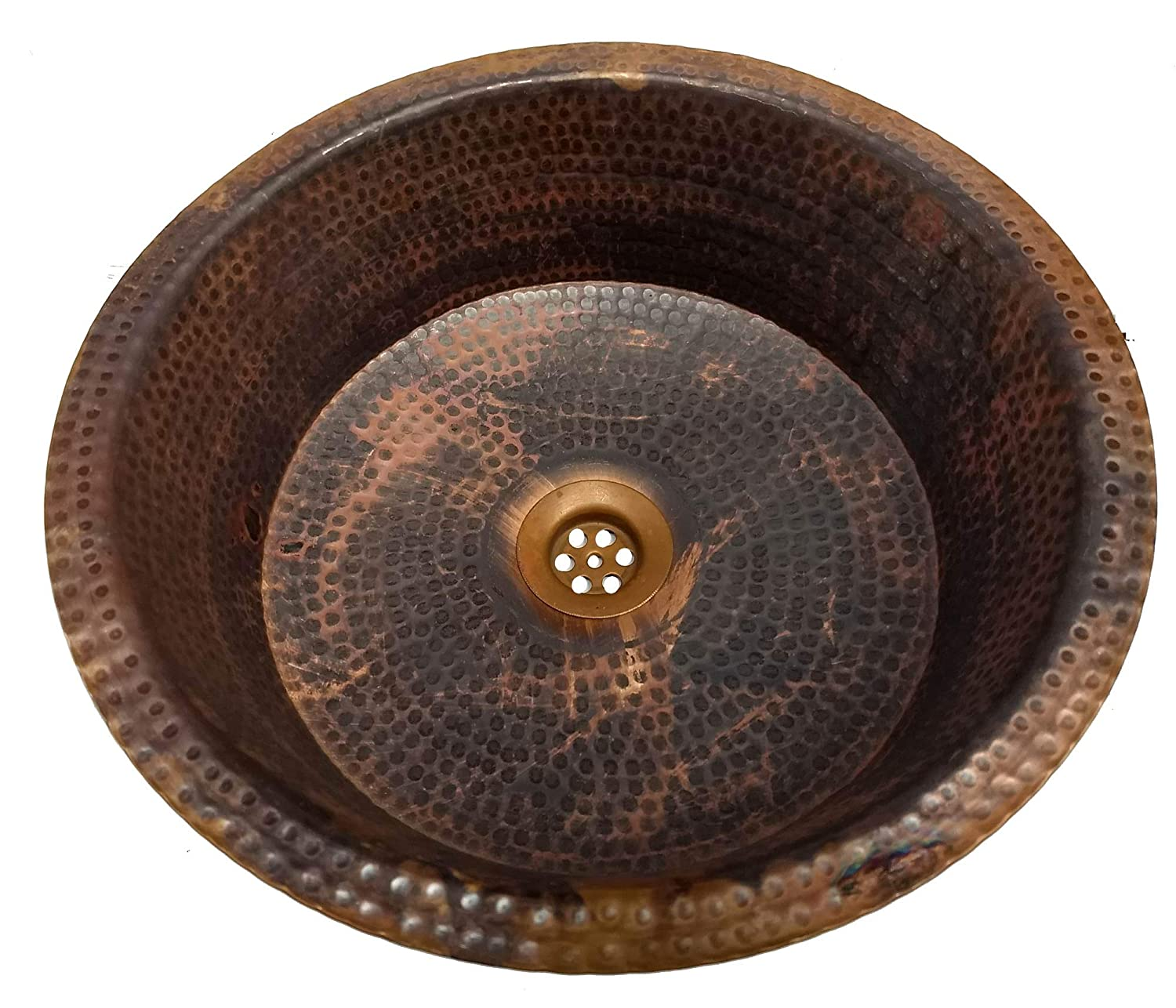 Egypt gift shops Artisan Hand Hammered Crafted Vessel Fire Patina Natural Pure Copper Bath Pan Panning Bathroom Vessel Sink Home Remodel