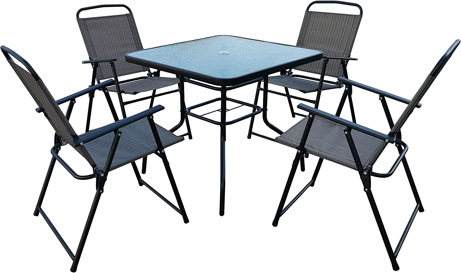 Homewell Outdoor Dining Furniture Set for Patio, Back Yard, Deck, Bistro (Grey) (Table + 4 Chairs)