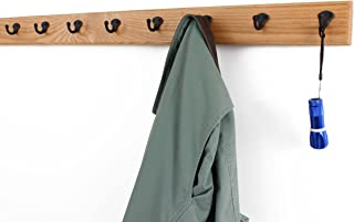 "product image for Oak Coat Rack with Aged Bronze Single Style Hooks (Natural, 41"" x 3.5"" with 8 hooks)"