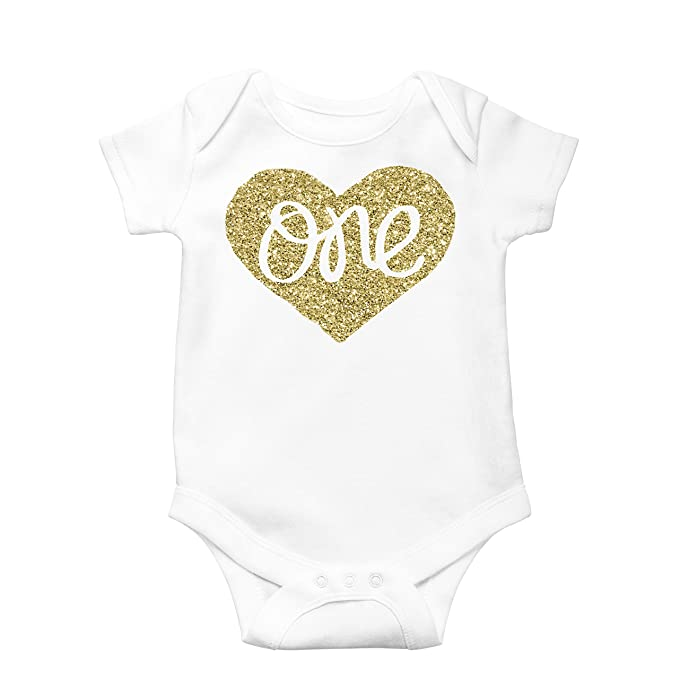 84c0f1184 Baby Girls First Birthday Onesie Sparkly Gold One inside Heart design 1st  Birthday Onesie Girl,