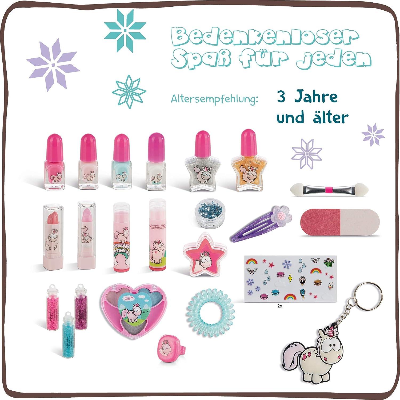 NICI Kosmetik Adventskalender Einhorn Theodor and Friends – Einhorn Adventskalender Mädchen ab 3 Jahren – Weihnachtskalender Kinder