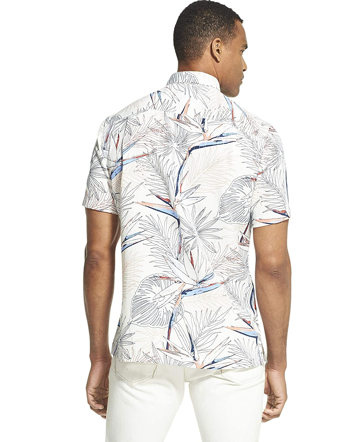 Van Heusen Mens Air Tropical Print Short Sleeve Button Down Shirt Button Down Shirt