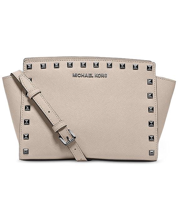 e87dceea48e25 Amazon.com  MICHAEL Michael Kors Selma Stud Medium Messenger Cement  Shoes