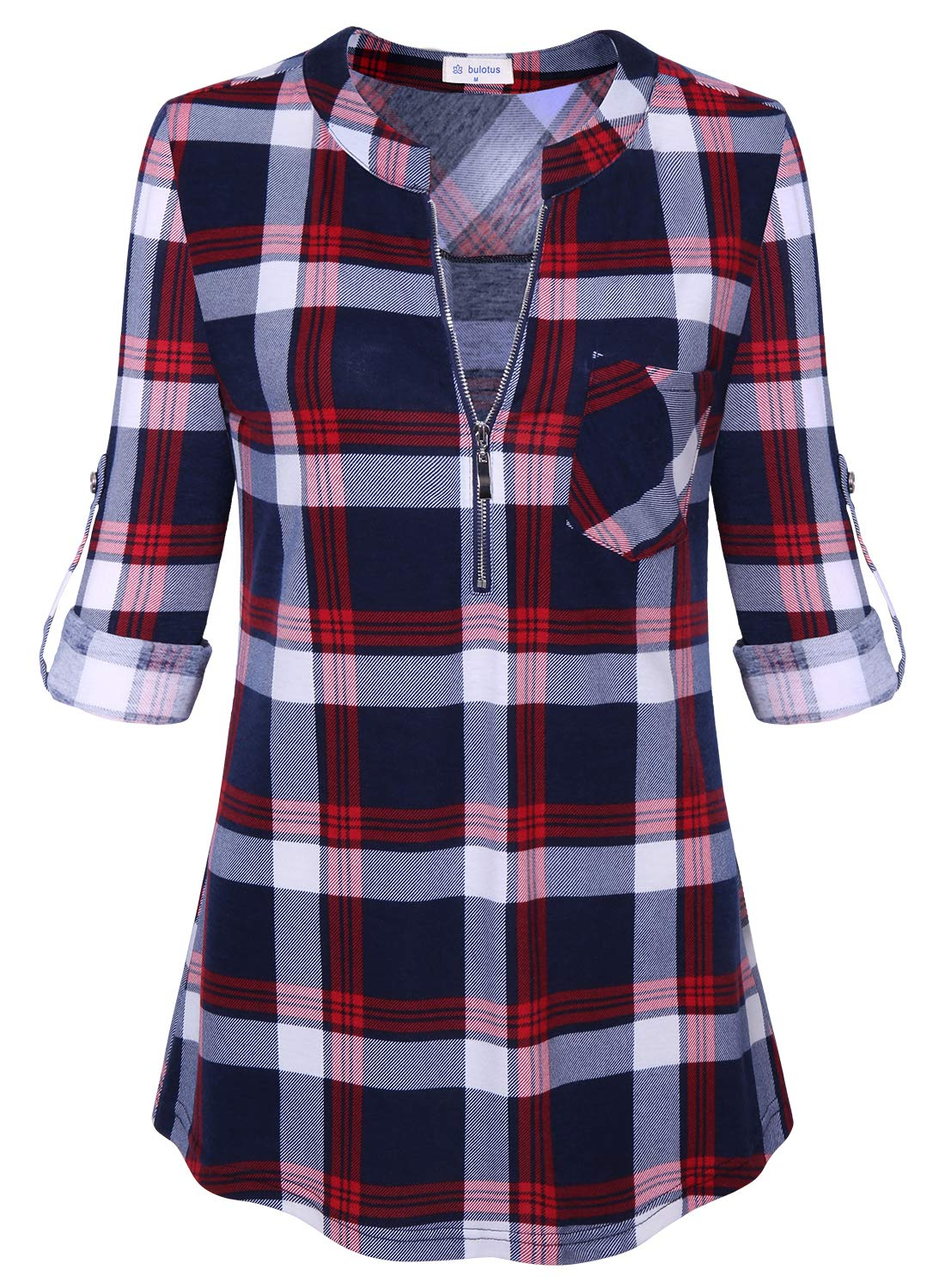 Bulotus Long Sleeve V Neck Allover Plaid Relaxed Classic Tunic Shirt for Women Red L