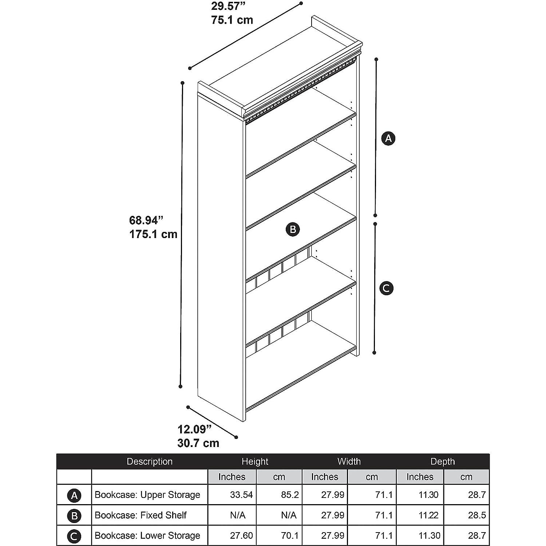 fairview 5 shelf bookcase in antique white kitchen