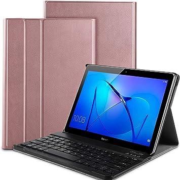 IVSO Huawei Mediapad T3 10 Teclado Estuche [QWERTY], Ultra Fino Slim Funda con Magnético Desmontable Wireless Teclado para Huawei Mediapad T3 10 (Oro ...