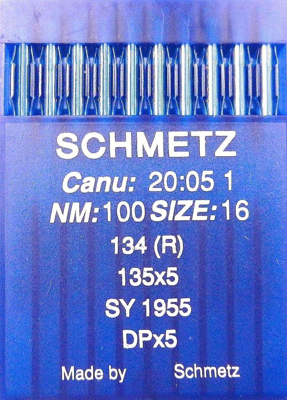 SCHMETZ - Agujas para máquinas de Coser (10 Unidades, Sistema 134 (R), Industrial, St. 100)
