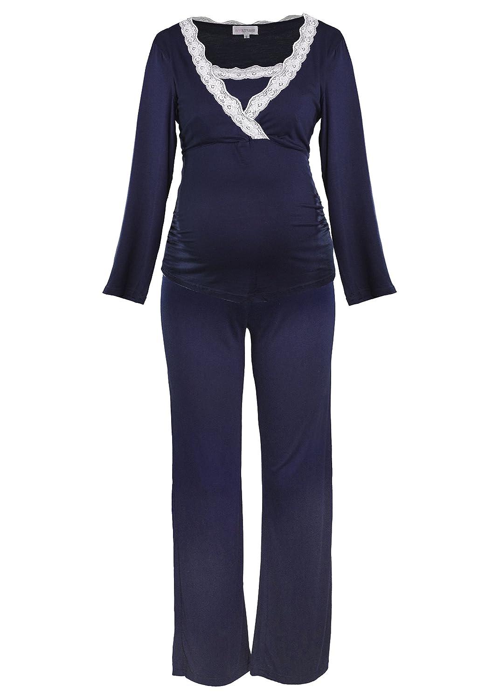 Herzmutter Pyjama d'allaitement Pyjamas de maternité pour Femme avec Dentelle, vêtements de Nuit pour Grossesse et Allaitement, Manches Longues, Taupe Gris-foncé Bleu (2000)