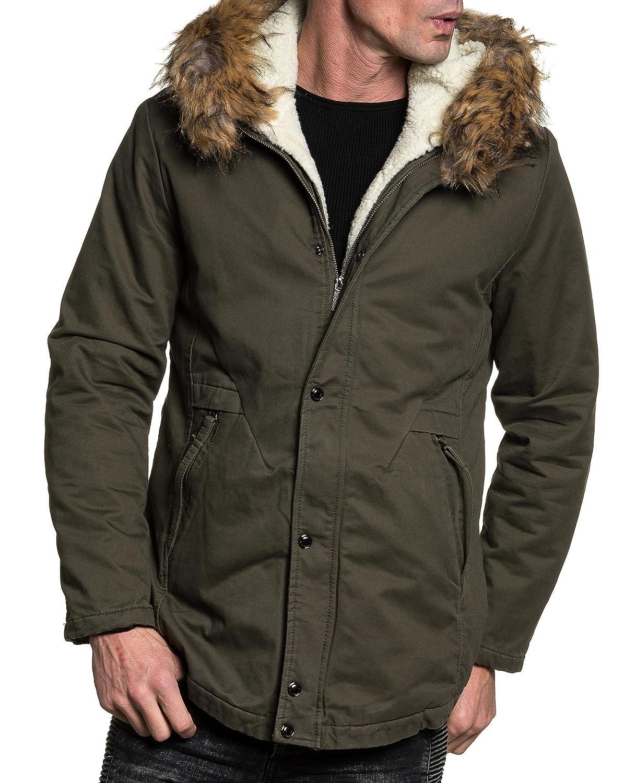 BLZ jeans - khaki jacket man winter fur