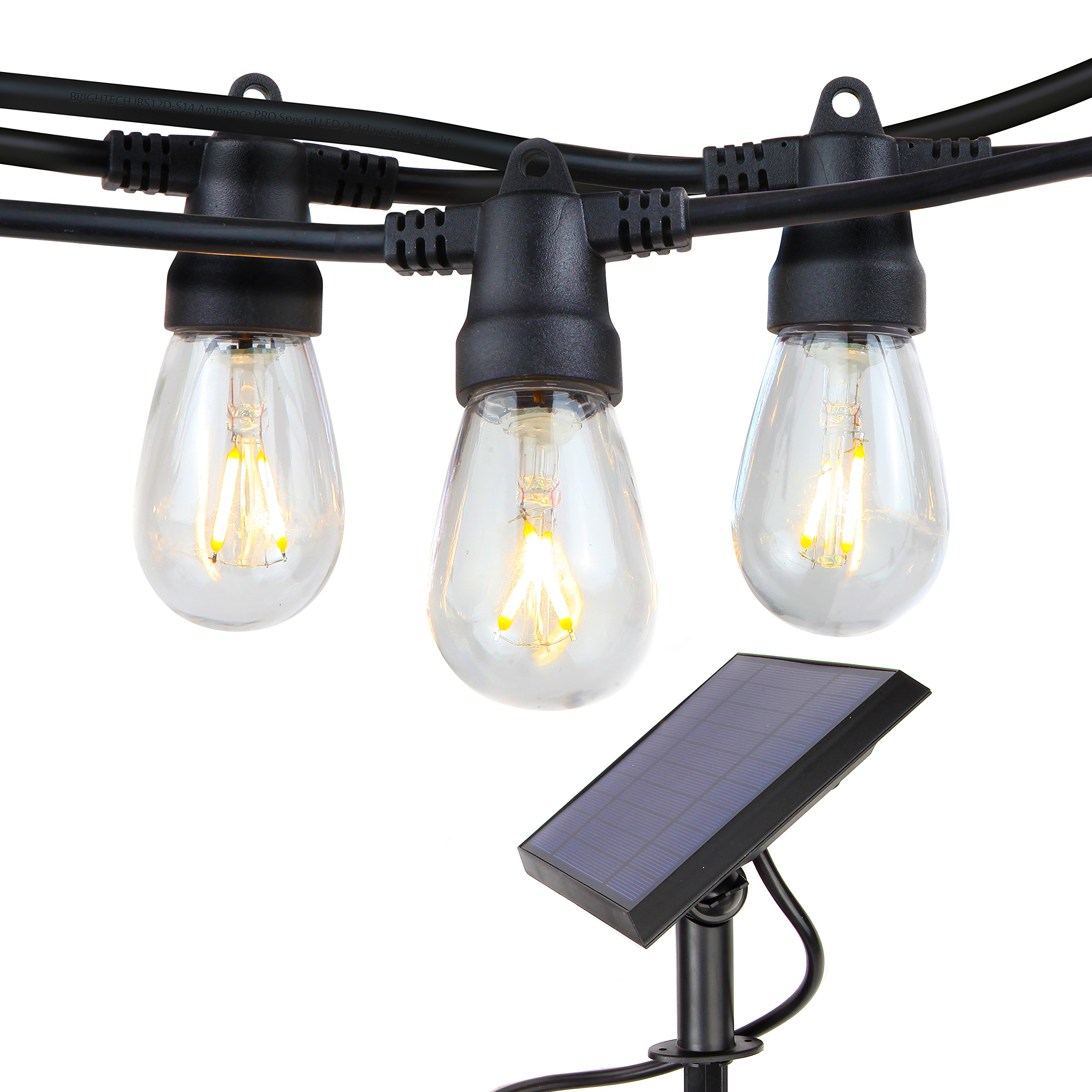 Brightech Ambience Pro Solar Powered LED Outdoor String Lights – Commercial Grade, Waterproof Patio Lights With Edison Bulbs– 2500 maH Solar Panel, 2 Watt S14 Filaments- Heavy Duty Cafe Bistro -24ft
