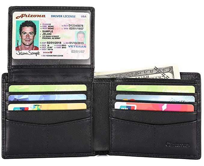 d1bfe92a15d0 Mens Genuine Leather Bifold Wallet with 2 ID Window and RFID Blocking