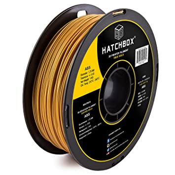 HATCHBOX 1.75mm Gold ABS 3D Printer Filament - 1kg Spool (2.2 lbs.)