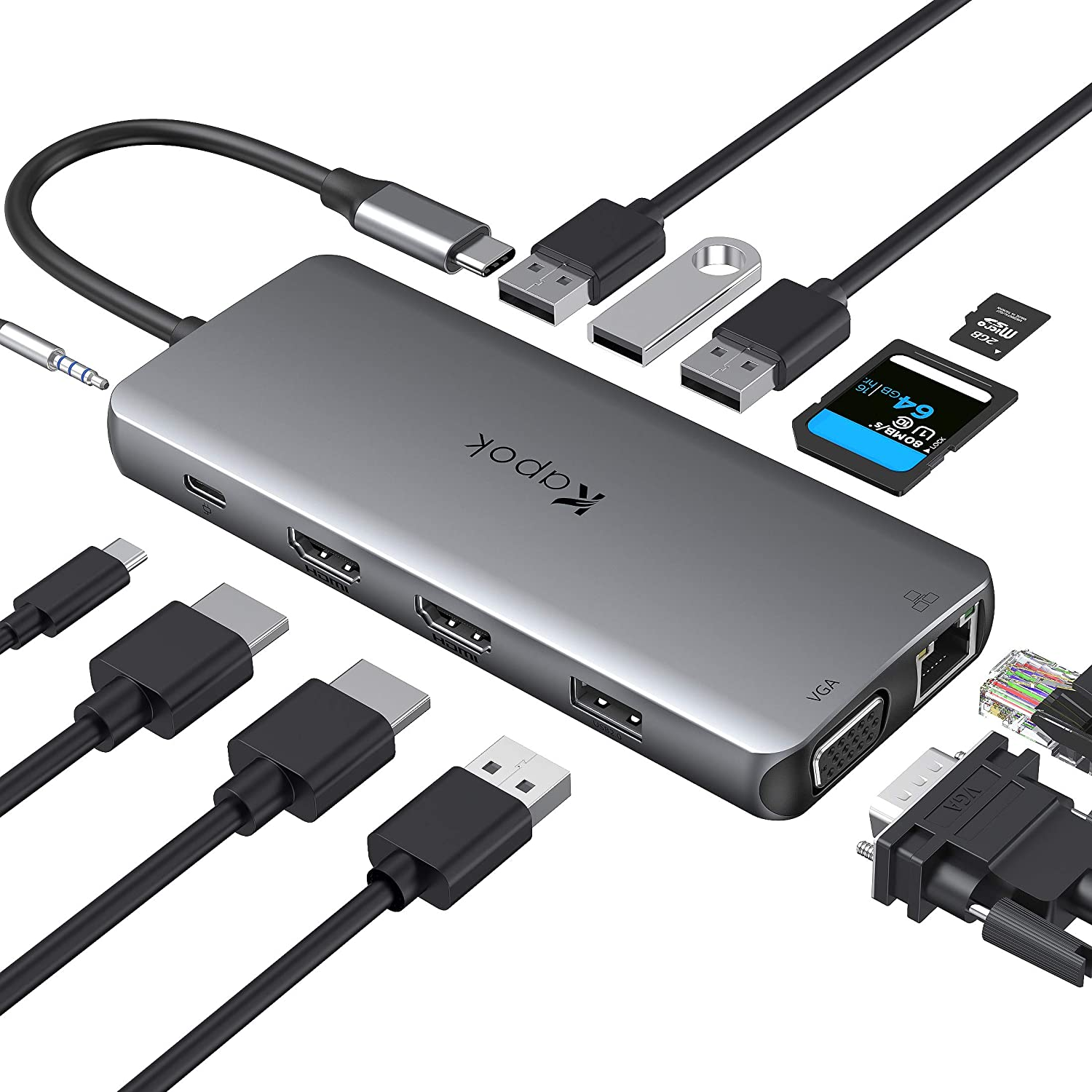 USB C to Dual HDMI Adapter 12 in 1 Adapter with Ethernet Triple Display USB C Multiport Adapter Hub USB C Dongle Type C Hub for MacBook Pro, Surface pro 7, Dell XPS 13/15, Huawei Matebook X pro, etc