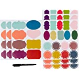 Custom Personalized Assorted Colors Adhesive Name Tag Labels Stickers for Mason Jar or Canning Jars,Gift Box, Editable, Waterproof Nametag Stickers (78 pcs)