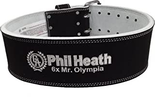 product image for IRON COMPANY Schiek Sports PHL6010 Phil Heath Signature 10cm Wide Suede Leather Double Prong Competition Power Lifting Belt - 9mm Thickness - Custom Designed by Mr. Olympia