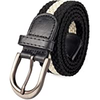 Braided Stretch Elastic Web Belt Prong Black/Nickel Buckle Loop Tip Men/Women/Junior