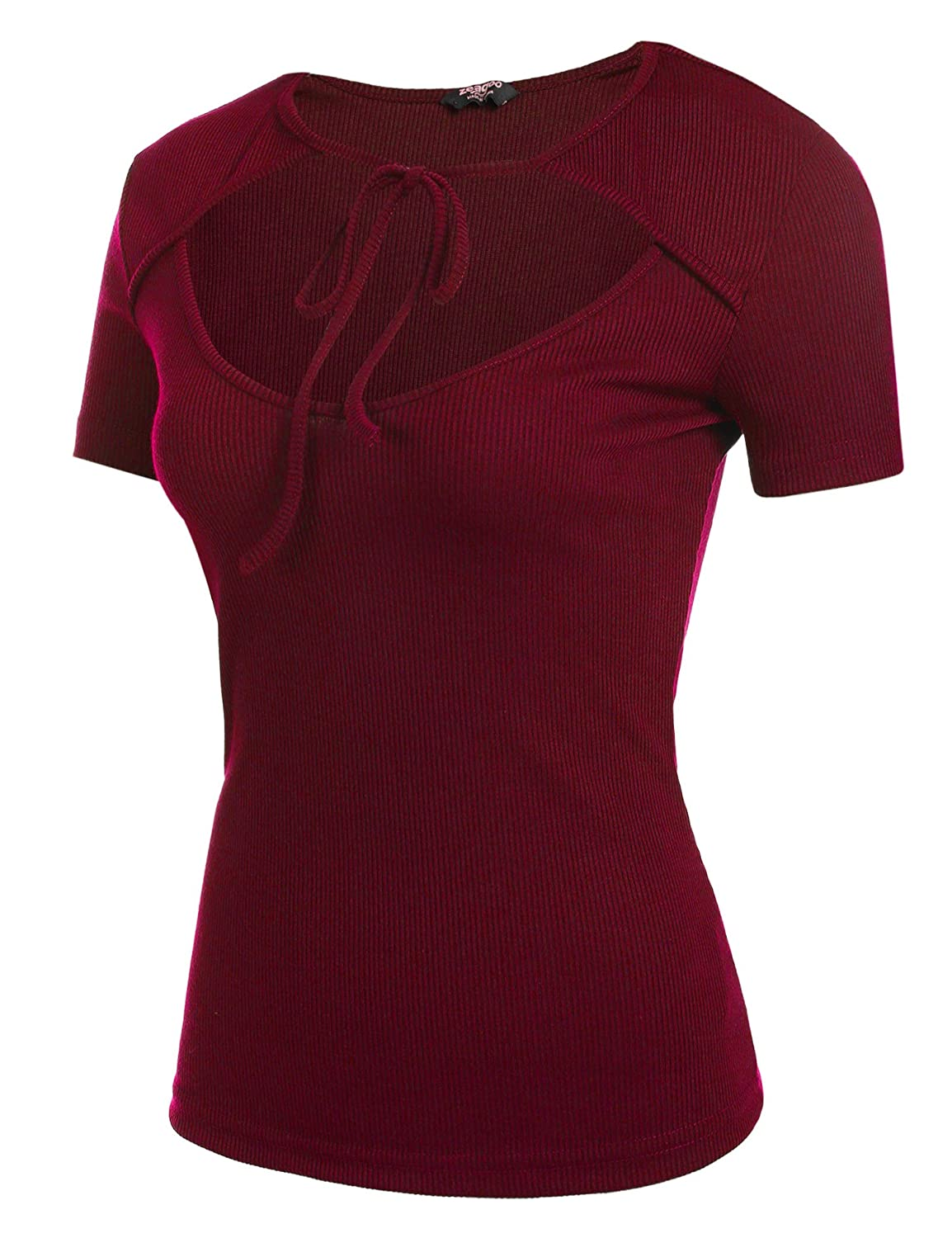Buy Zeagoo Women S Hollow Out Lace Up Loose Knitted T Shirts Tunic Top Red Xl At Amazon In