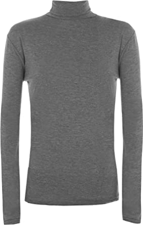 2e1b7862 WearAll New Ladies Polo Neck Stretch Long Sleeve Womens Plain Top Jumper  8-14: Amazon.co.uk: Clothing