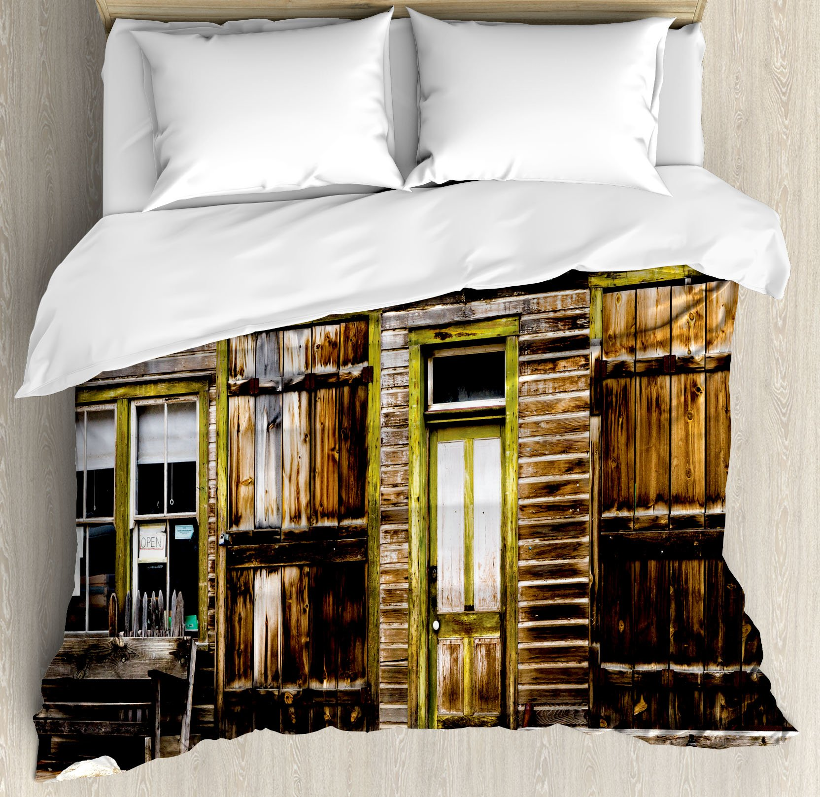 Rustic Decor Duvet Cover Set by Ambesonne, Old Wooden Plank House with Antique Door and Windows with Stones on Rocky Street, 3 Piece Bedding Set with Pillow Shams, King Size, Brown