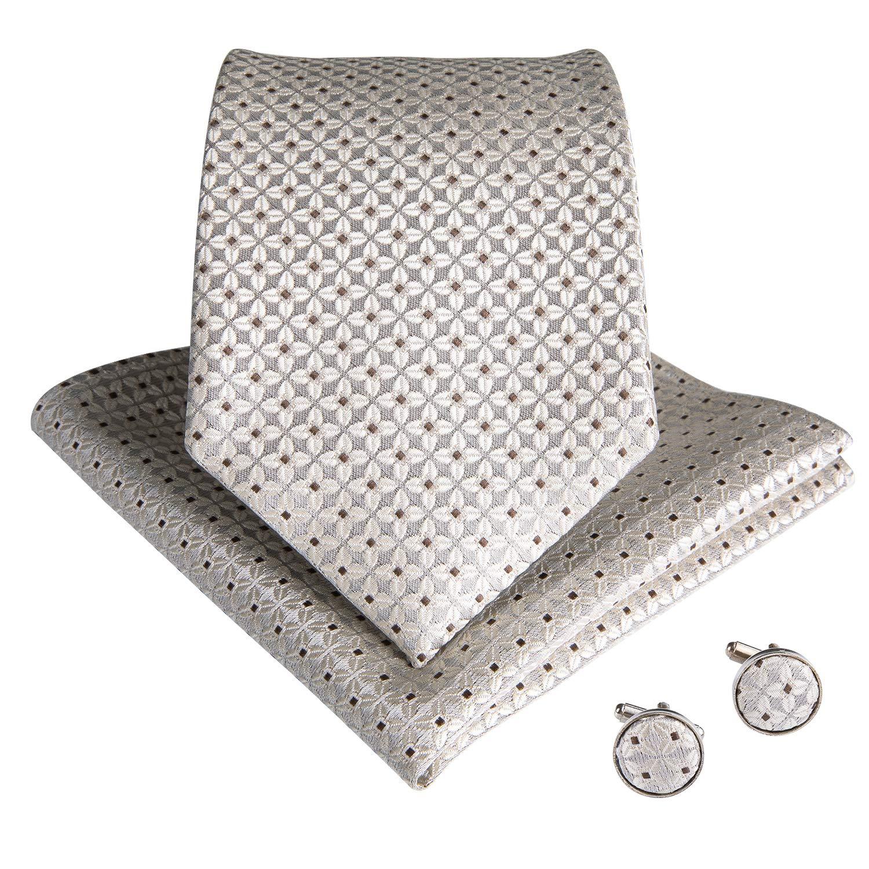 DiBanGu Mens Dot Tie and Pocket Square Set Silk Stripe Neckties Cufflinks Business Wedding Tie Set