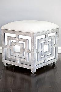 Statements by J Reena Mirrored Ottoman w/Storage Box, 21 Inch Tall