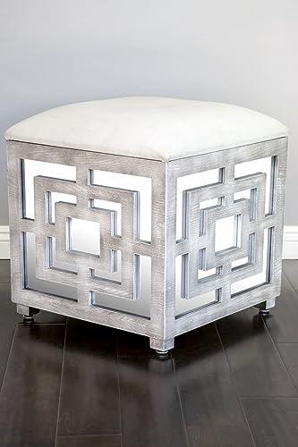 Statements by J Reena Mirrored Ottoman w Storage Box, 21 Inch Tall, White