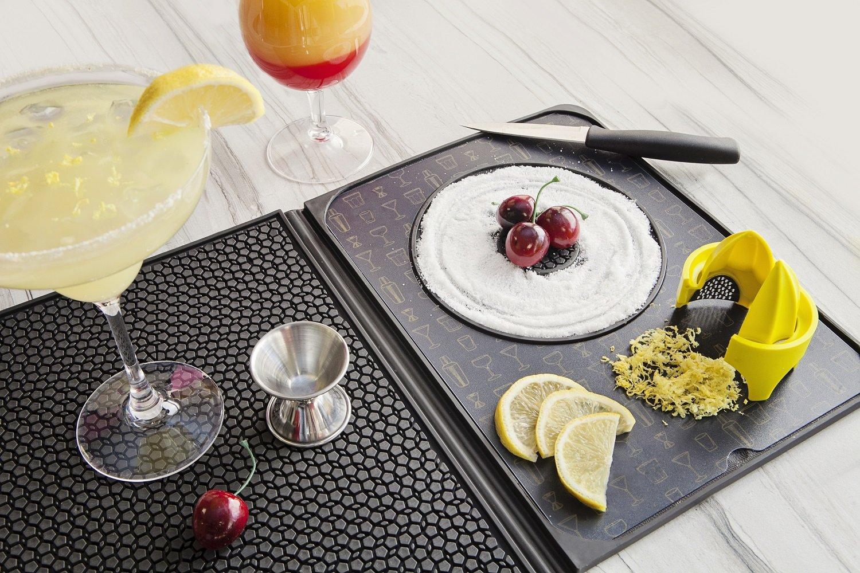 Talisman Designs Multi-Use Cocktail Bar Mat with Citrus Zester & Reamer