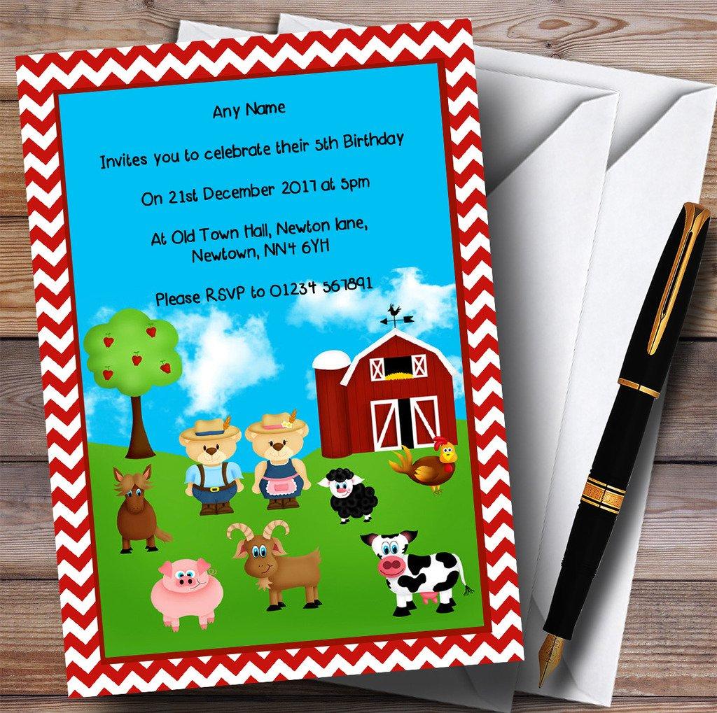 Red Chevrons Farm Animals Childrens Birthday Party Invitations