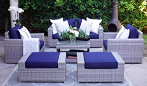 SunHaven 7 Piece Outdoor Furniture Set - for Patio, Deck, Garden and Outdoor Dining - Features Thick Cushions, Gray Wicker Rattan and Weather Resistance (7 Piece Loveseat Set)