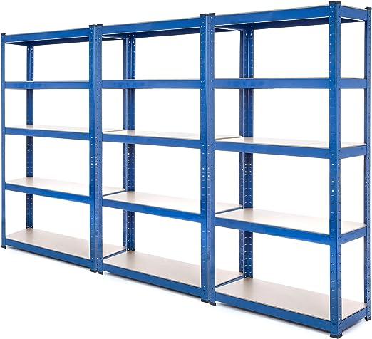 3 bahía resistente garaje estantería de acero – estantería (275 kg por estante (5 niveles 1800 mm H x 900 mm W x 300 mm D) se envía con maza de goma + ...