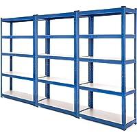 3 bahía resistente garaje estantería de acero – estantería (275 kg por estante (5 niveles 1800 mm H x 900 mm W x 300 mm…