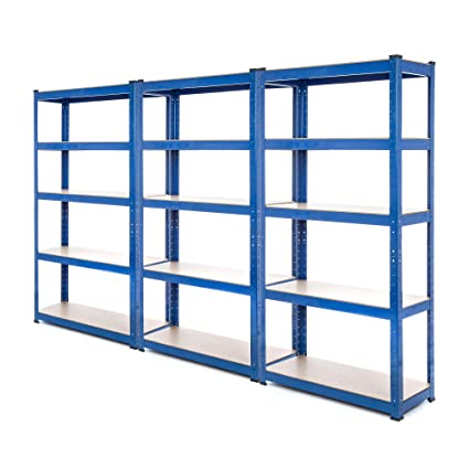 Scaffali Per Garage.3 Bay Heavy Duty Steel Scaffali Scaffalature Garage 275 Kg Per Ripiano 5 Livelli 1800 Mm Altezza X 900 Mm Larghezza X 300 Mm D Fornito Con Free